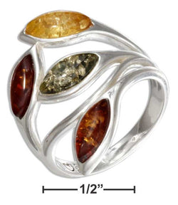 Sterling Silver Multicolor Marquise Amber Ring | Jewelry Store