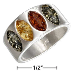 Sterling Silver Multicolor Marquise Amber Band Ring | Jewelry Store