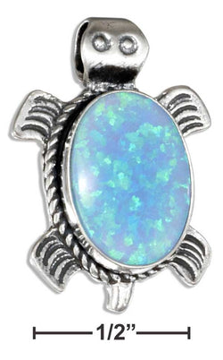 Sterling Silver Southwest Synthetic Blue Opal Turtle Pendant | Jewelry Store