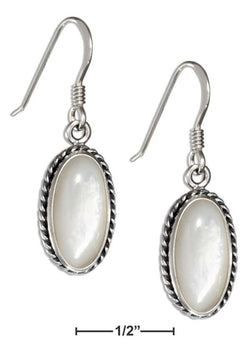 Sterling Silver Oval Mother Of Pearl Earrings With Rope Border | Jewelry Store