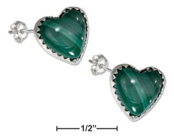 Sterling Silver Simulated Malachite Heart Earrings | Jewelry Store