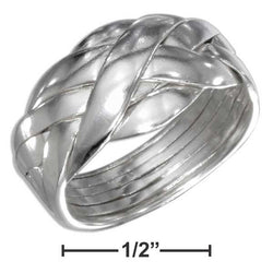 Sterling Silver High Polish Six Band Puzzle Ring | Jewelry Store