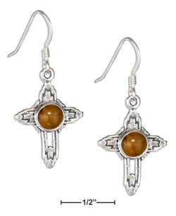 Sterling Silver Tiger Eye Southwest Cross Earrings | Jewelry Store
