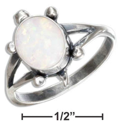 Sterling Silver Synthetic White Opal Turtle Ring | Jewelry Store