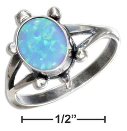 Sterling Silver Synthetic Blue Opal Turtle Ring | Jewelry Store