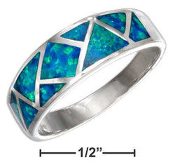 Sterling Silver Patchwork Synthetic Blue Opal Band Ring | Jewelry Store