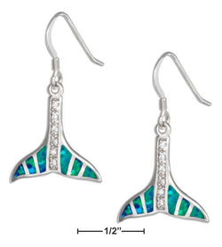 Sterling Silver Cubic Zirconia And Lab Created Blue Opal Whale Tail Earrings | Jewelry Store