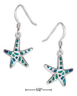 Sterling Silver Synthetic Blue Opal Starfish Earrings | Jewelry Store