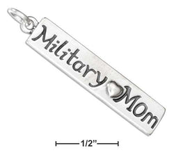 "Sterling Silver ""Military Mom"" Charm With Heart 