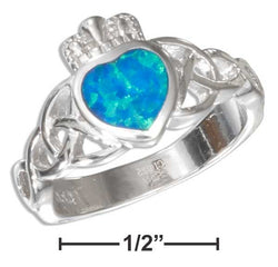 Sterling Silver Synthetic Blue Opal Claddagh Ring With Celtic Knot | Jewelry Store