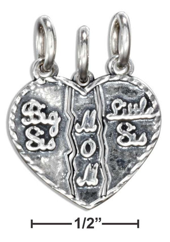 "Sterling Silver ""Big Sis, Little Sis, Mom"" 3- Piece Breakaway Heart Charm 