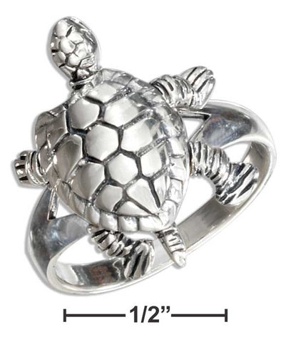 Sterling Silver High Polish Movable Turtle Ring | Jewelry Store
