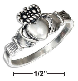 Sterling Silver Small Antiqued Irish Claddagh Ring | Jewelry Store