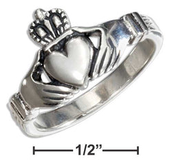 Sterling Silver Medium Antiqued Irish Claddagh Ring | Jewelry Store