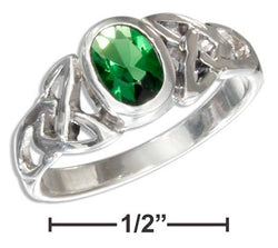 Sterling Silver Oval Green Glass Celtic Trinity Knot Ring | Jewelry Store