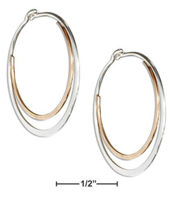 Sterling Silver And 12 Karat Gold Filled 25mm Flat Double Hoop Earrings | Jewelry Store