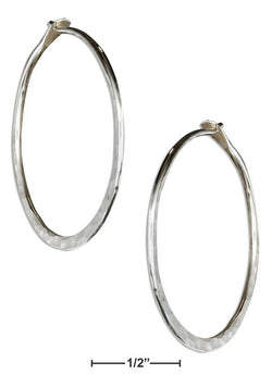 Sterling Silver 30mm Flat Bottom Hammered Hoop Earrings | Jewelry Store