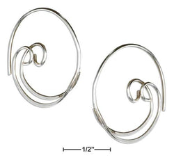 Sterling Silver 24mm Double Spiral Threader Wire Hoop Earrings | Jewelry Store