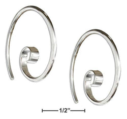 Sterling Silver 24mm Curly Spiral Threader Wire Hoop Earrings | Jewelry Store