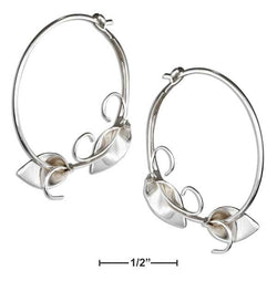 Sterling Silver Calla Lily Vine Wire Hoop Earrings | Jewelry Store