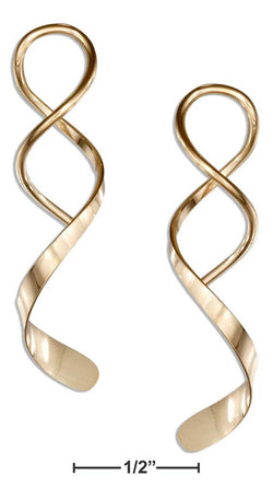 12 Karat Gold Filled Spiral Streamer With Wide End Wire Earrings | Jewelry Store