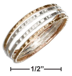 Sterling Silver And 12 Karat Gold Filled Hammered Four Band Ring | Jewelry Store