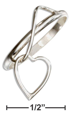 Sterling Silver Wire Ring With Heart Charm Dangle | Jewelry Store