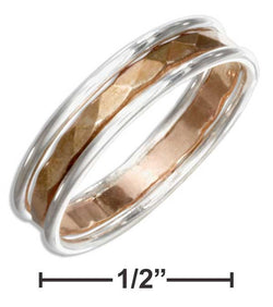 Sterling Silver Band Ring With 12 Karat Gold Filled Hammered Center | Jewelry Store