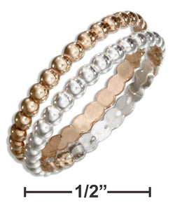 Sterling Silver And 12 Karat Gold Filled Double Row Beaded Band Ring | Jewelry Store