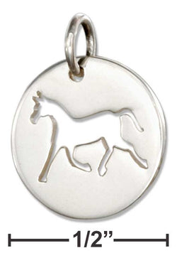 Sterling Silver Round Disk With Cut-Out Silhouette Horse Charm | Jewelry Store