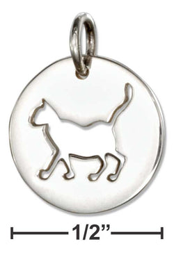 Sterling Silver Round Disk With Cut-Out Silhouette Cat Charm | Jewelry Store
