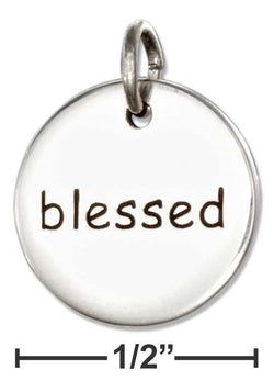 "Sterling Silver Inspirational ""Blessed"" Message Disk Charm 
