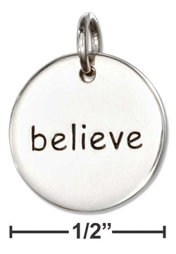 "Sterling Silver Inspirational ""Believe"" Message Disk Charm 