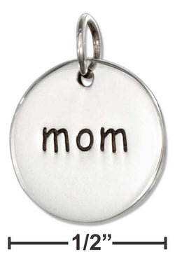 "Sterling Silver ""Mom"" Message Disk Charm 