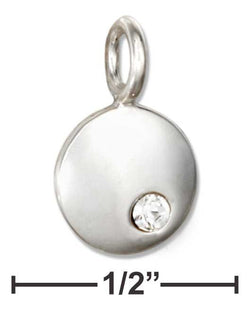 Sterling Silver Round April Birthstone Clear Crystal Charm | Jewelry Store
