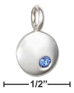 Sterling Silver Round September Birthstone Deep Blue Crystal Charm | Jewelry Store