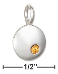 Sterling Silver Round November Birthstone Yellow Crystal Charm | Jewelry Store