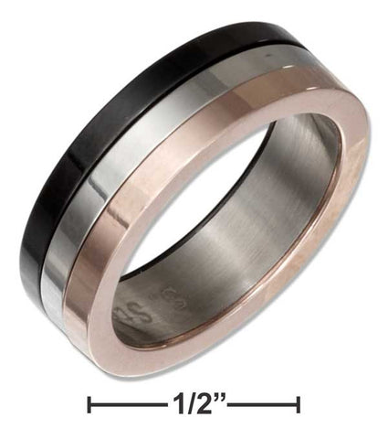 Stainless Steel Band Ring With Copper Color And Black Color | Jewelry Store