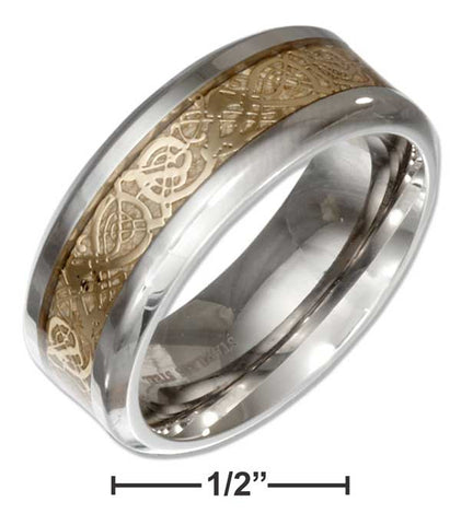 Stainless Steel Band Ring With Gold Color Celtic Knot Center | Jewelry Store
