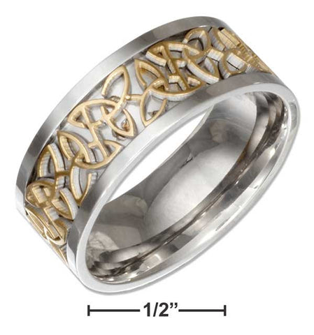 Stainless Steel Band With Gold Color Celtic Trinity Knot Insert | Jewelry Store