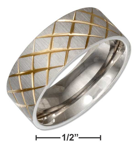 Stainless Steel Band Ring With Gold Color Crosshatch Pattern | Jewelry Store