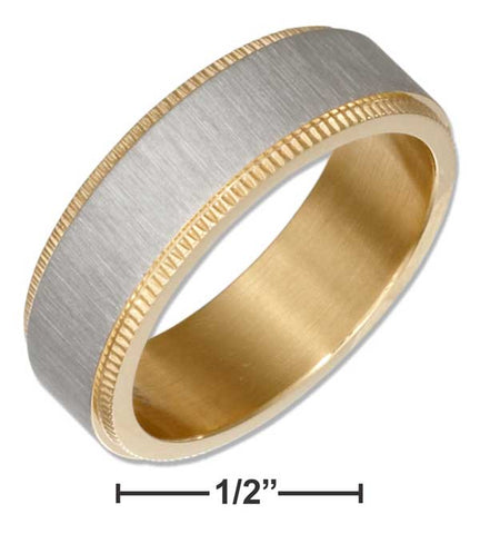 Stainless Steel And Gold Color Coin Edge Band Ring | Jewelry Store