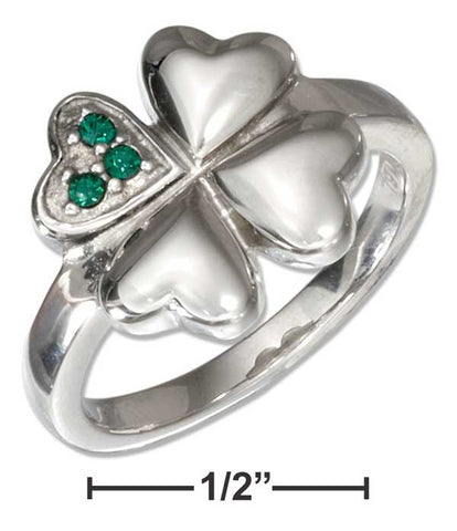 Stainless Steel Four Leaf Clover Ring With Green Cubic Zirconias | Jewelry Store