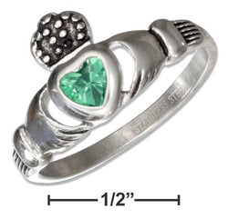 Stainless Steel Claddagh Ring With Green Cubic Zirconia Heart | Jewelry Store