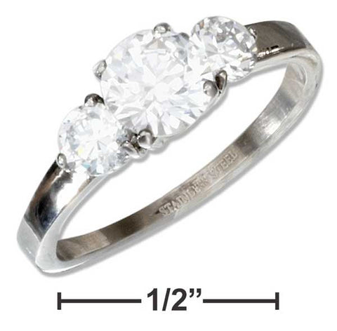 Stainless Steel Three Stone Cubic Zirconia Engagement Ring | Jewelry Store