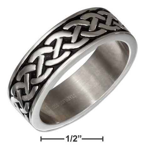 Stainless Steel Celtic Knot Weave Wedding Band Ring | Jewelry Store