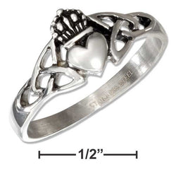 Stainless Steel Celtic Claddagh Ring With Trinity Knots | Jewelry Store