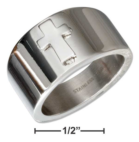 Stainless Steel Tapered Band With Cross Ring | Jewelry Store