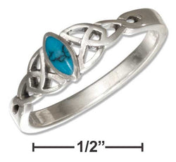 Sterling Silver Small Marquise Simulated Turquoise Ring With Celtic Trinity Knots | Jewelry Store