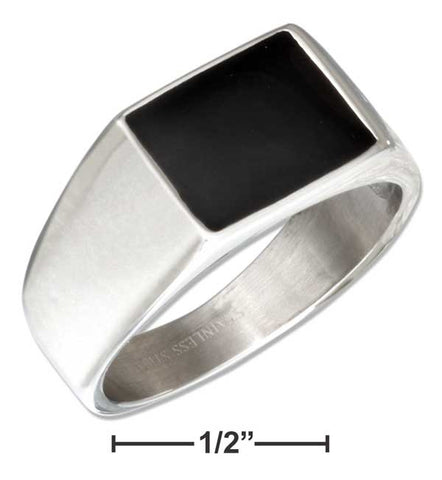 Stainless Steel Simulated Black Onyx Ring | Jewelry Store